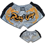 Retro Muay Thai Shorts -  Silver/Black stripe
