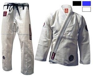 ROLL HARD Premium Brazilian Jiu Jitsu Gi - White, Blue, Black